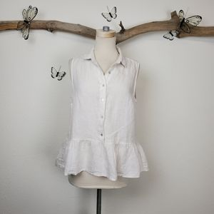 Catherine malendrino natural white linen blouse